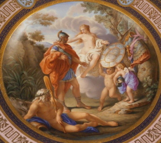 Thetis ueberreicht dem Archilles die Waffen (Thetis gives Achilles the weapons) Antique 18th Century Royal Vienna Porcelain Scenic Plate. Source: Non-Commercial Use Only -  kpmisbetter via Ebay