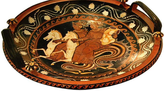 Greek Apulian Red-figure Patera by the Baltimore Painter Group, ca. 330 BCE, depicting Thetis and another Nereid riding hippocamps, delivering the armor of Achilles. Source: CCSA 3.0 by Cyron/Vail via Wikimedia Commons