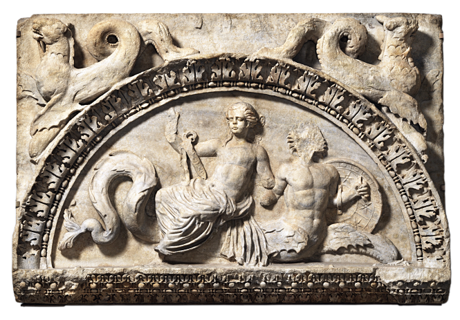 Mid-Imperial Roman, Trajanic sculpture in marble - Lunette of Thetis Riding a Triton Delivering Achilles' Shield, ca. 1st quarter of 2nd century CE. Source: CC0 via Wikimedia Commons