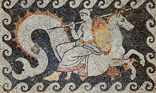Thetis Seated on Hippocampus, Delivering the spear and shield of Achilles. Ancient Greek Mosaic from Eretria, ca. 400-350 BCE. Source: CC0 via Wikimedia Commons