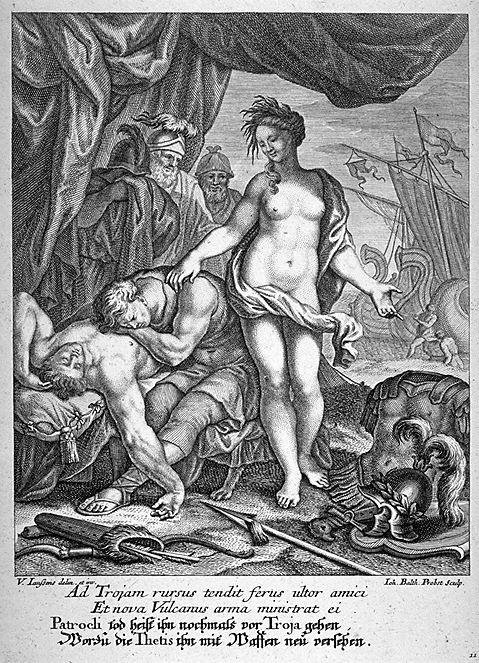 Thetis Rearms Achilles, Engraving by Johann Balthasar Probst [1673 - 1748] in the Fine Arts Museum of San Francisco. Source: CC0 via Wikimedia Commons
