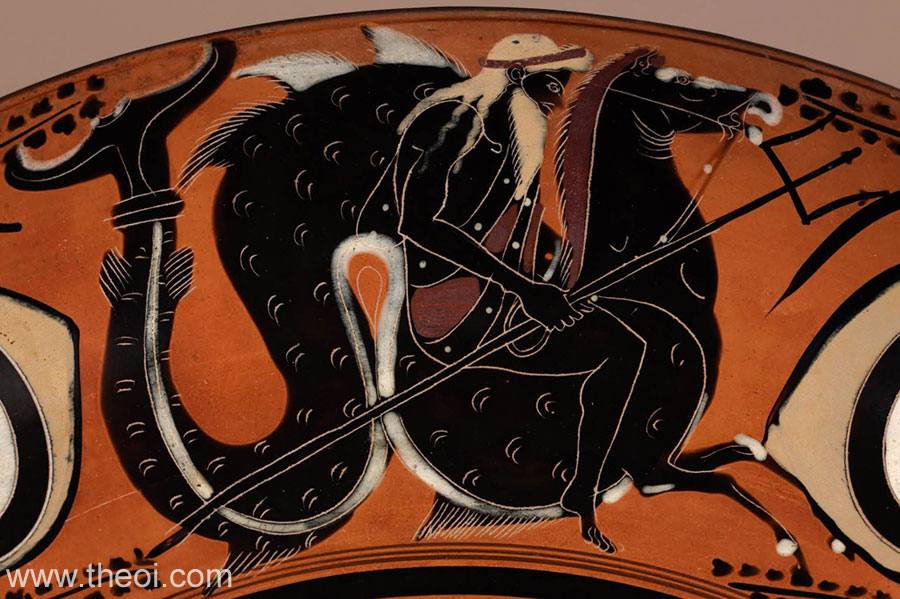 Poseidon Riding a Hippocampus, Athenian Black-figure cup attributed to Krokotos Group or Leagros Group, ca. 550-500 BCE. Source: Non-Commercial use only © British Museum via Theoi.com