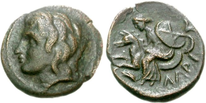 "Mid 4th Century BCE Bronze coin from Larissa Kremaste, Thessaly, Greece. Æ 17, Obverse: Head of Achilles; Reverse: Thetis seated on a hippocamp holding the shield of Achilles, denoted by the monogram ""AX"". Source: http://www.coinproject.com/coin_detail.php?coin=268781"