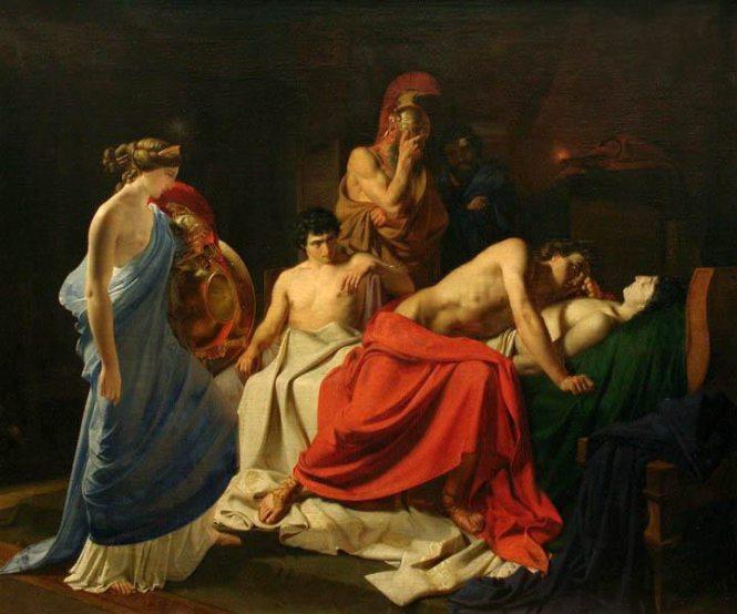 Achilles and the Body of Patroclus,Nikolai Ge, ca. 1855. Source: CC0 via Wikimedia Commons