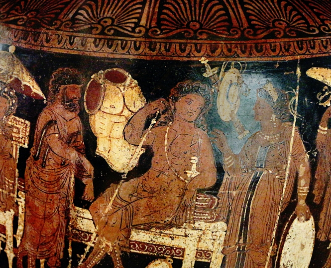 Thetis Delivering Achilles' Armor, Greek Apulian Red-figure Krater by the Baltimore Painter, ca. 330 BCE. Source: CCA 3.0 Sailko/Vail via Wikimedia Commons