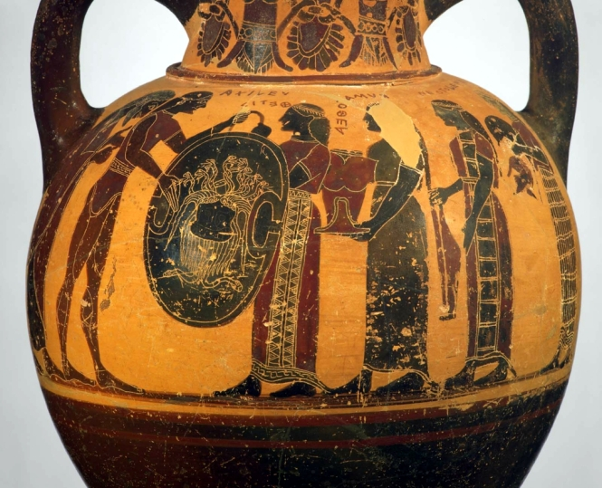 The Arming of Achilles, Archaic Greek Black-figure Neck Amphora by the Camtar Painter, ca. 550 BCE. Source: For Non-Commercial Use Only, Boston Museum of Fine Art