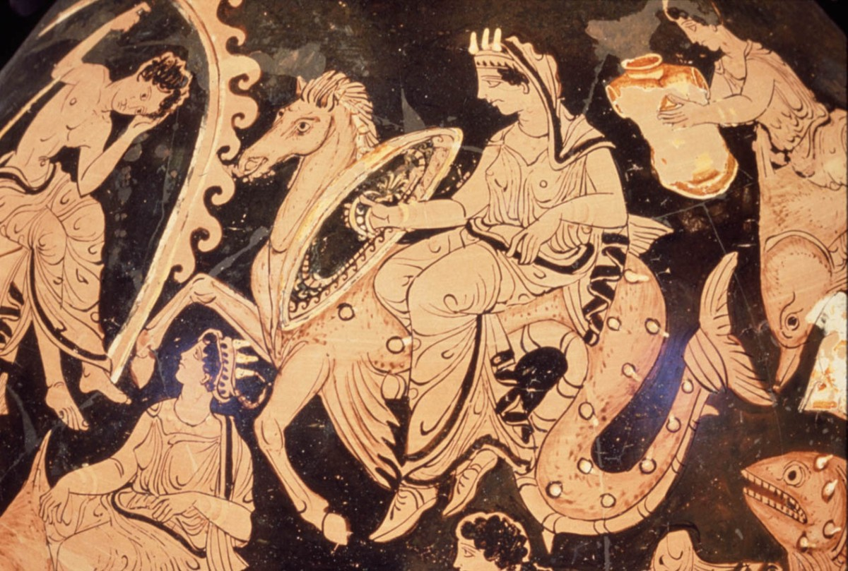 Side A of Greek Apulian Red-figure Pelike in the style of the Gravina Painter, ca 425-400 BCE depicting Thetis and Nereids ridi.ng sea creatures delivering Achilles new armor. Source: Non-Commercial Use Only via Perseus Digital Library