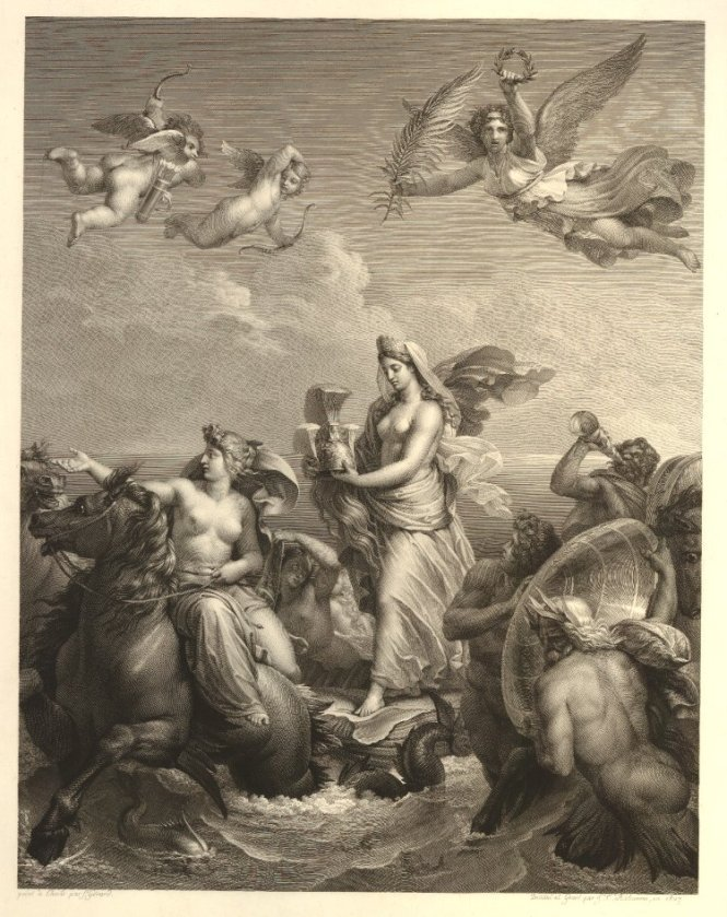 Theodore Richomme French 1785-1849 after Baron Francois Gerard French 1770-1837 Thetis Carrying the Armor of Achilles Thetis portant l'armure d'Achille-1827 engraving on paper. Source: Non-Commercial Use Only copyright British Museum