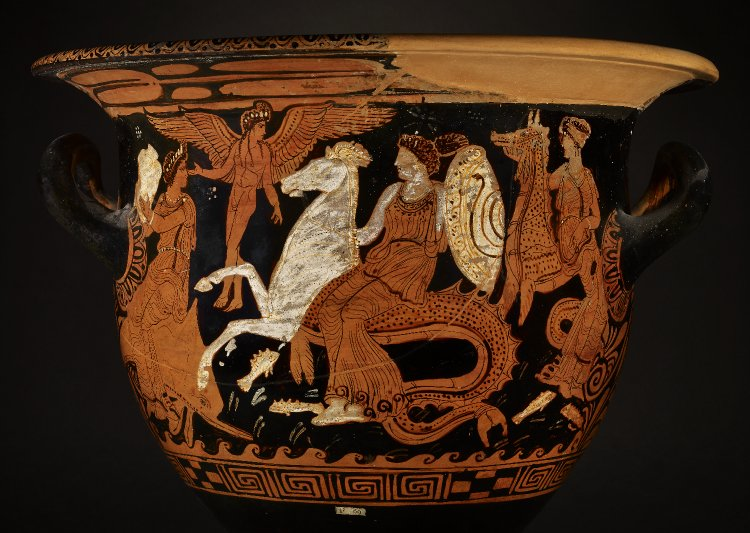 Thetis and Nereids conveying the armor of Achilles, Attic Red-figure Bell Krater, ca 350 BCE. Source: Non-Commercial Use Only via British Museum