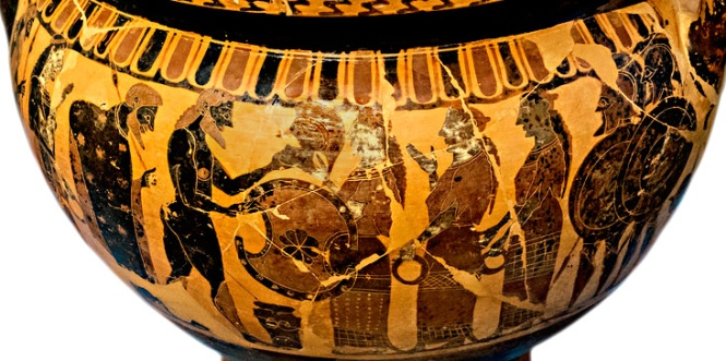 Thetis Presenting Achilles' New Armor.Attic black-figure column krater,Attributed to the Painter of London B76, ca. 560 BCE. Source: Non-Commercial Use Only c Vail/ Egisto Sani via Flickr