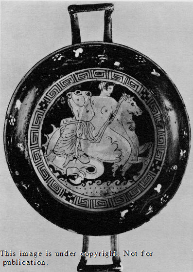 Thetis riding a hippocampus delivering Achilles' new armor. Athenian Red-Figure Kylix Tondo attributed to the Q Painter ca 400-300 BCE. Source: Non-Commercial Use only via Classical Art Research Ctr.