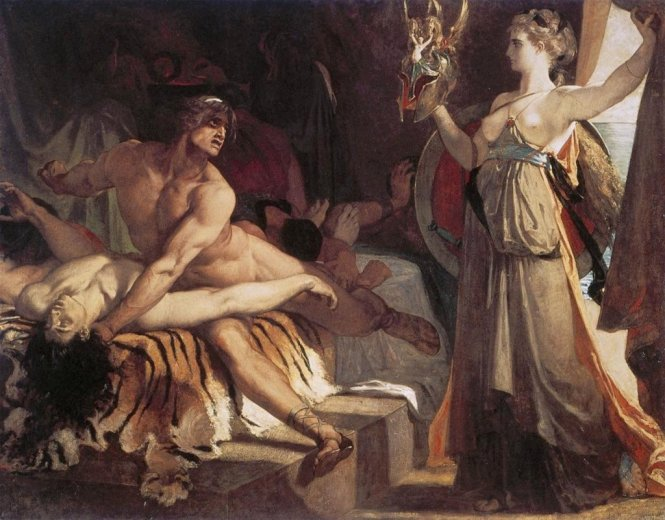 Thetis delivers new arms forged by Hephaistos to Achilles, Henri Regnault, 1866. Source: CC0 via Wikimedia Commons