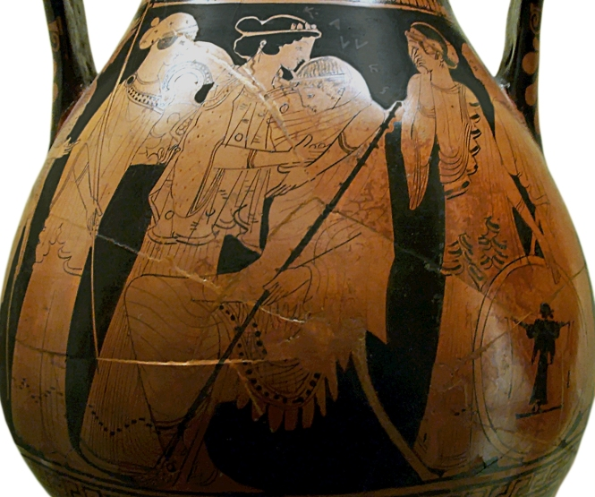 Ancient Greek Red-Figure Pelike ca. 470 BCE depicting Thetis consoling Achilles over the death of Patroklos. To the side can be seen Thetis' sister Nereids waiting to present Achilles with his new armor. Source: CC0 via Wikimedia Commons