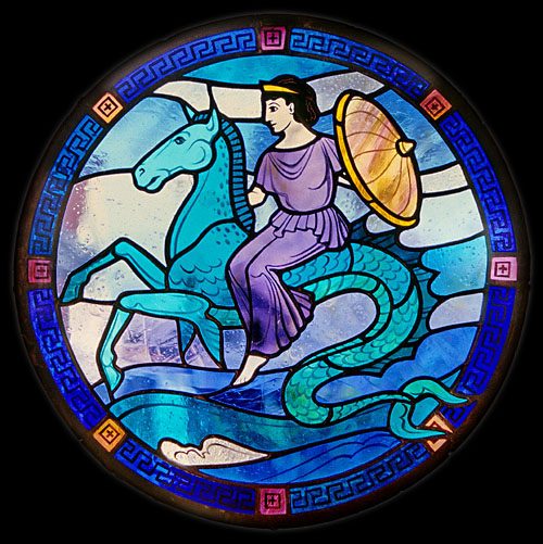 Thetis Riding Upon a Hippocamp With Achilles' Shield, Stained Glass Medallion by Alice Johnson, 1999. Source: Non-Commercial Use only,© Alice Johnson