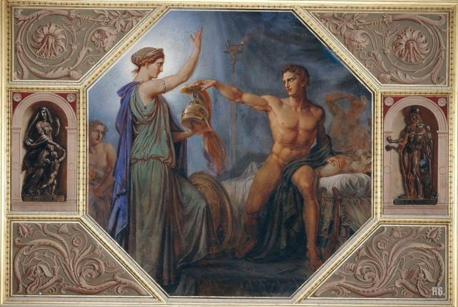 Achilles Receiving New Armor From Thetis, Wall Mural by Carl Adolf Henning, ca. 1838-1856. Source: CC0 via Wikimedia Commons