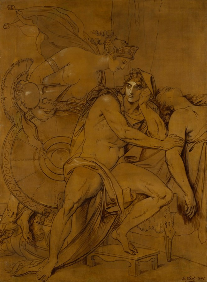 Thetis bringing the Armour to Achilles,1805 Study Drawing by Benjamin West. Source: Non-Commercial Use Only copyright Royal Academy
