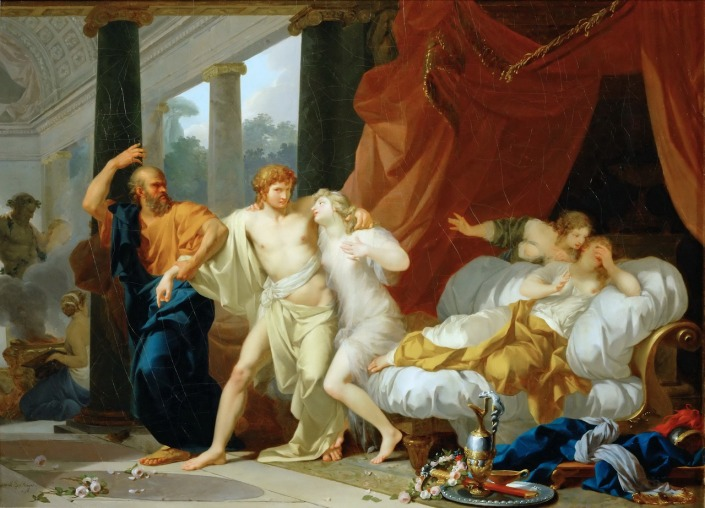Socrates Dragging Alcibiades from the Embrace of Aspasia, 1785,by Jean-Baptiste Regnault. Source: CC0 via Wikimedia Commons