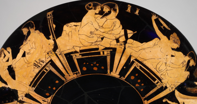 Detail of a terracotta Attic Greek Kylix (drinking cup) with scenes from a symposium. Signed by Hieron as potter, attributed to Makron, ca. 480 BCE. Source: XVII via Tumblrcup) with scenes from a symposium. Signed by Hieron as potter, attributed to Makron. Greek, Attic, ca. 480 BCE. Source: XVII via Tumblr