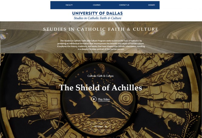 Vail's Shield of Achilles featured in University of Dallas Catholic Studies Video Course