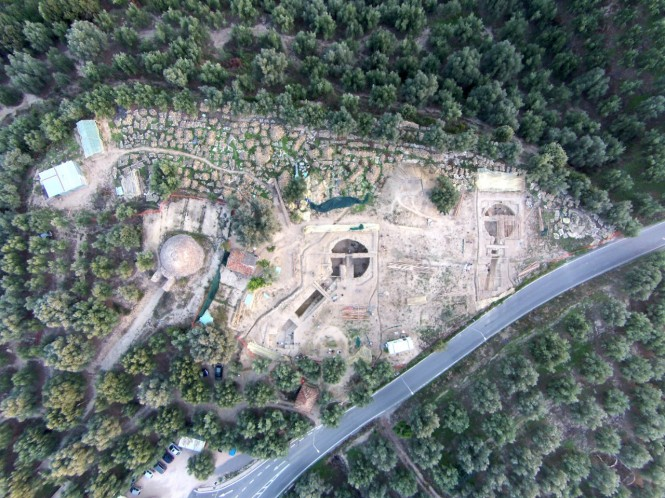 An aerial view of the site shows the Tholos IV tomb, far left, found by UC archaeologist Carl Blegen in 1939 in relation to the two family tombs called Tholos VI and Tholos VII, uncovered last year by UC archaeologists Jack Davis and Sharon Stocker