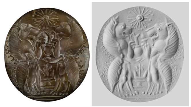 A semiprecious carnelian seal stone of two genii, lionlike mythological creatures holding serving vessels and an incense burner over an altar and below a 16-pointed star. On the right is a putty impression made from the seal