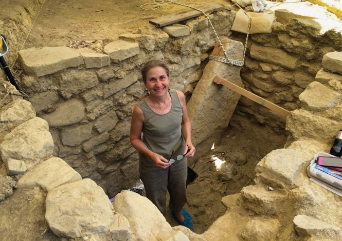 UC archaeologist Sharon Stocker working at the site of the Griffin Warrior in Pylos Greece in 2015